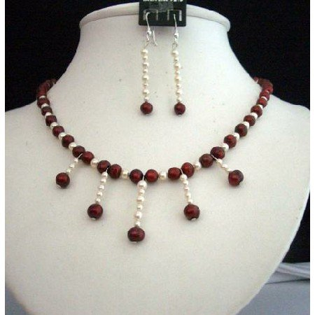 NSC165Vintage Set of Simulated Red Pearls&Genuine Swarovski Cream Rose Pearls Necklace Set