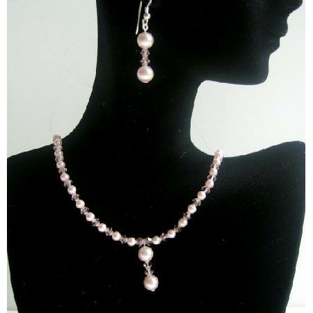 NSC386  Pink Pearls & Crystals Necklace & Earrings Made w/ Genuine Swarovski Pearls & Crystals