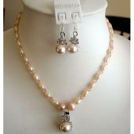 NSC150 Peach Freshwater Pearls w/Peach Crystals Handcrafted Custom Jewelry Necklace Set