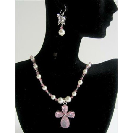 NSC362 Pearls & Crystals Jewelry Swarovski White Pearls&Lite Rose Crystals Necklace Sets