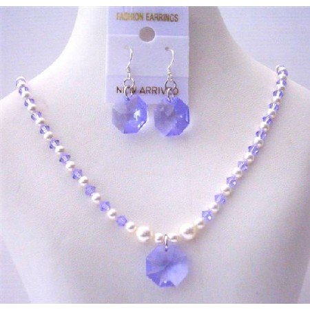 NSC502  Swarovski Lavender Crystals&White Pearls w/Lavender Crystals Octagon Pendant&Earrings Set