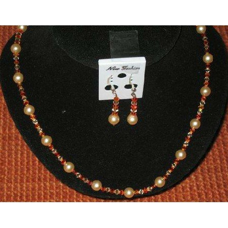 NSC001  Genuine Peach Fire Opal & Light Peach Crystals Necklace Set
