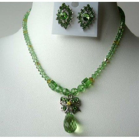 NSC319 Party Jewelry Genuine Peridot Crystals Necklace Set w/TearDrop Pendant