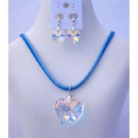NSC463 AB Crystals Heart Pendant & Earrings Sterling Silver Hook Earrings Jewelry Set
