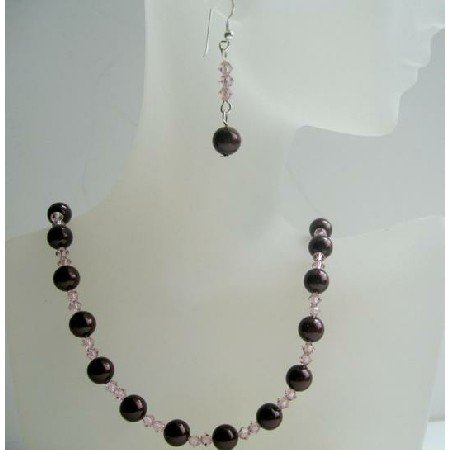 NSC385  Meroon Pearls Swarovski Pearls & Vintage Swarovski Rose Crystals Necklace Set