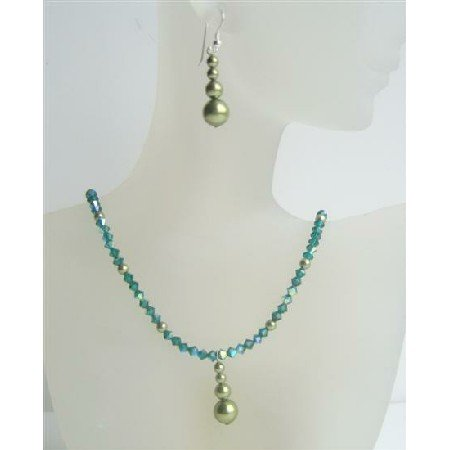 NSC404  Swarovski Emerald AB Crystals Necklace w/ Swarovski Green Pearls Sterling Silver Earrings