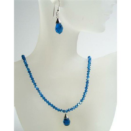 NSC410 Dark AB Sapphire Crystals Necklace w/ Tear Drop Pendant & Earrings