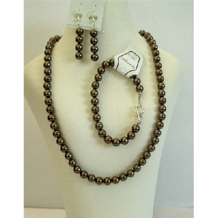 NSC396  Brown Pearls Jewelry 7mm Genuine Swarovski Brown Pearls Necklace Set w/ Bracelet