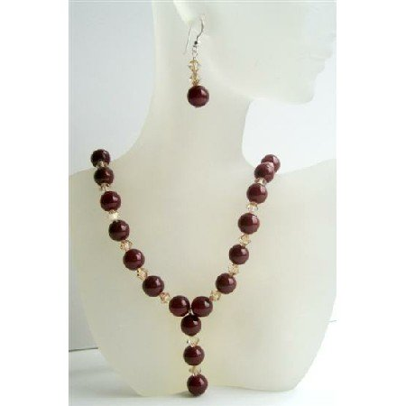 NSC414  Carnelian Beads Jewerly Genuine Swarovski Ceylon Crystals Necklace & Earrings Handmade