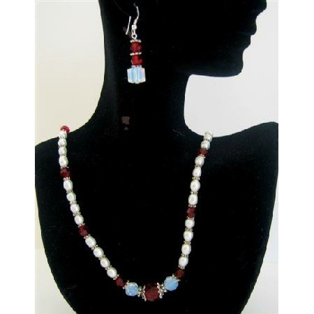 NSC443 White Opal Crystals Swarovski Crysal w/Freshwater Pearls&Siam Red Crystals Necklace Set