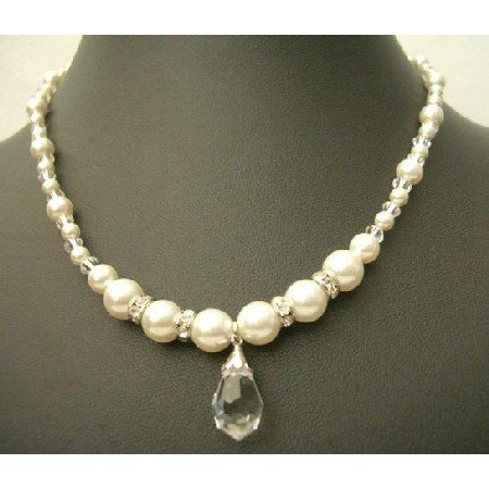NSC374  Swarovski Clear Crystals w/ Cream Peal & Silver Rondells Teardrop Necklace