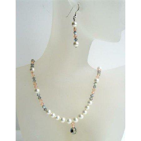 NSC402 Genuine Swarovski White Pearls Peach Black Diamond Crystals Neckace Set