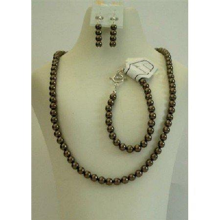 NSC397  Brown Pearls Necklace Earrings Bracelet 6mm Pearls Jewelry