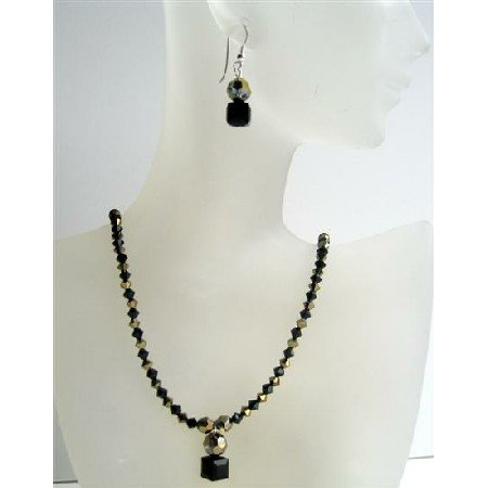 NSC413 Dorado & Jet Swarovski Crystals Handmade Custome Jewelry w/Cute Dangling Necklace Set