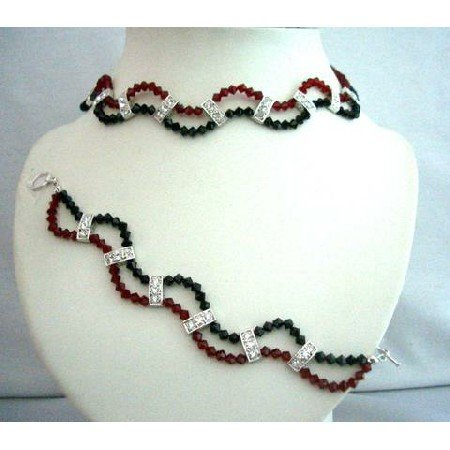 NSC342  Genuine Crystals Handcrafted Custom Jewelry Necklace & Bracelet