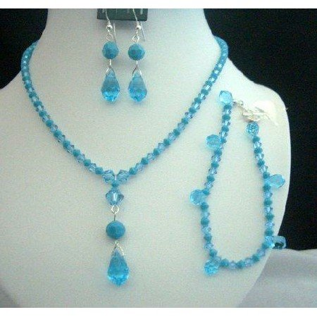 NSC211Handcrafted Necklace Set w/Bracelet in Genuine Swarovski In Aquamarine&Turquoise Crystals