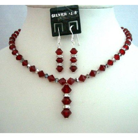 NSC353  Genuine Swarovski Siam Red Crystals Evening Jewelry w/ Silver Rondells & Silver Earrings