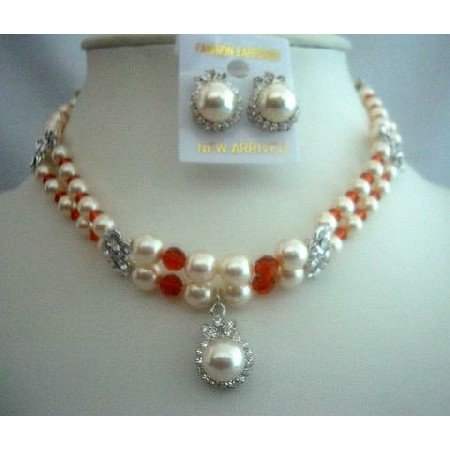 NSC281 Double Pearls Crystals Strands Pendant Necklace Set Genuine Swarovski Handcrafted Jewelry