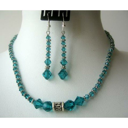 NSC316  Ethnic Blue Zircon Crystals Genuine Swarovski Crystals Necklace Set