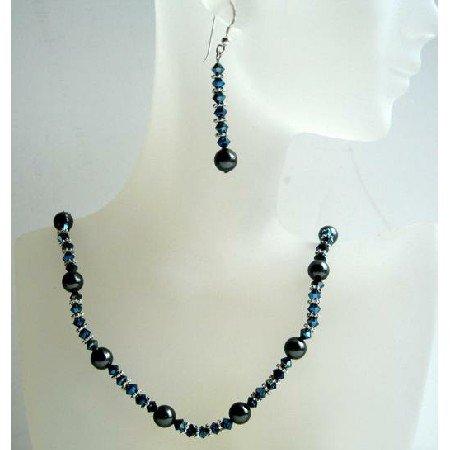 NSC384Swarovski Crystals Metallic Blue 2x & Black Pearls Swarovski Crystals&Pearls Jewelry