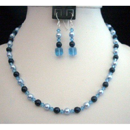 NSC215Genuine Swarovski Crystals & Pearls In Aquamarine Blue Handcrafted Custom Necklace Set