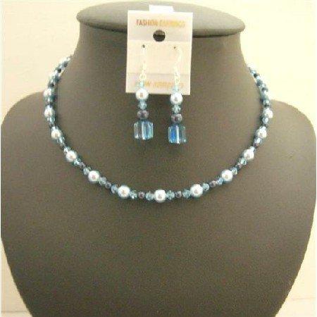 NSC002  Genuine Swarovski Lite Aquamarine Crystals Light Blue & Night Blue Pearls Necklace Set