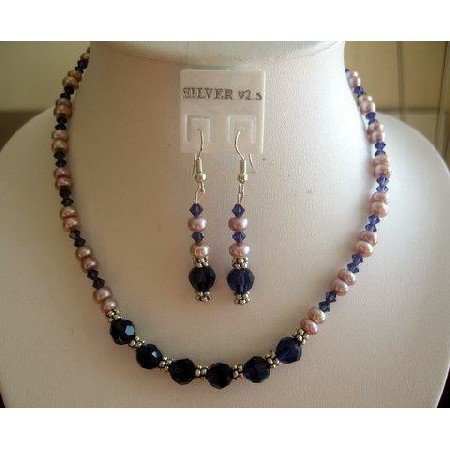 NSC144  Genuine Light Purple Freshwater Pearls w/ Purple velvet Crystals Necklace Set