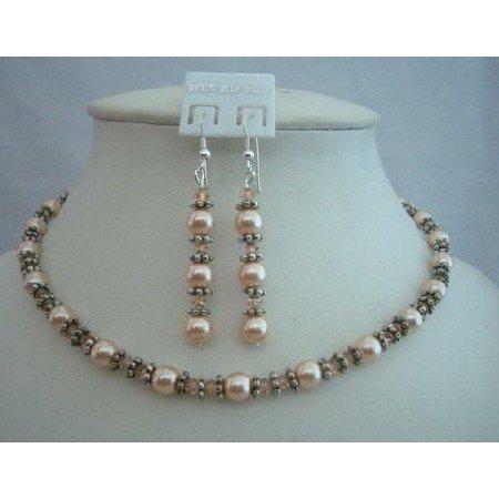 NSC333 Swarovski Peach Pearls & Crystals w/Bali Silver Beads Jewelry Handcrafted