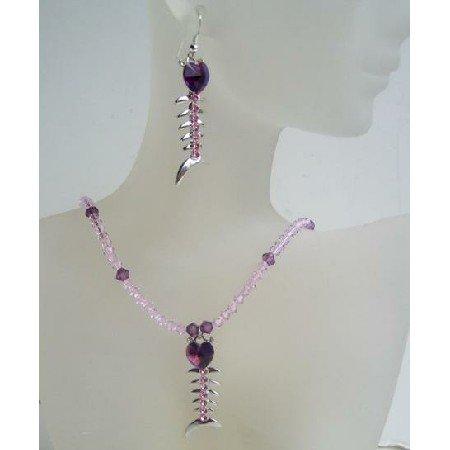 NSC395 Swarovski Amethyst Bicone Crystals w/ Fish Heart Pendant & Earrings