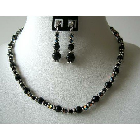 NSC366Swarovski Crystals w/Genuine Swarovski Mystic Pearls Bali Silver Handmade Jewelry Necklace Set