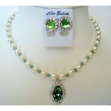 NSC262  Handcrafted Erinite Crystals & White Pearls Necklace Set Genuine Swarovski Crystals Jewelry