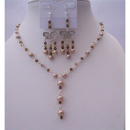 NSC457  Dark Brown Crystals Jewelry Set Smoked Topaz Crystals w/ Bronze Pearls Y Necklace Set