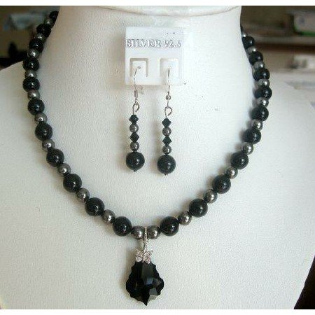 NSC145  Mystic Genuine Swarovski Jet Pearls and Dark Grey Pearls w/ Heart Pendant Necklace Set