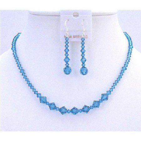 NSC621  Indicolite Necklace Set Genuine Swarovski Crystals Jewelry Set