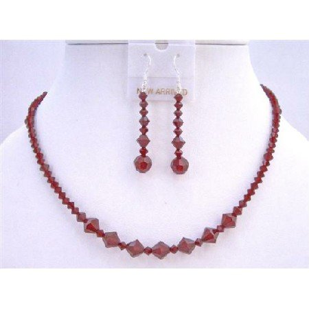 NSC620  Swarovski Crystals Jewelry Set Siam Red Crystals Necklace Set