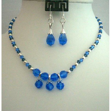 NSC116Genuine Swarovski Sapphire&Montana Crystals Necklace Set Handcrafted Custom Jewelry