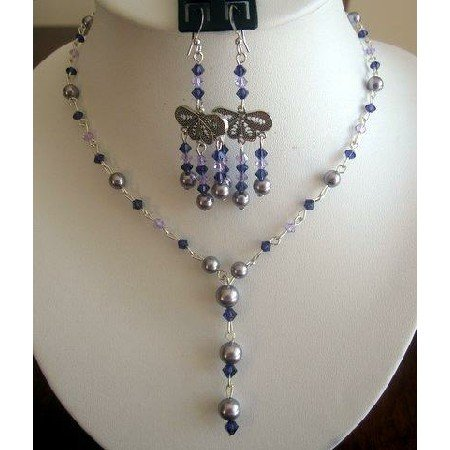 NSC148  Genuine Swarovski Light purple Pearls w/ violet purple Crystals Y Necklace Set