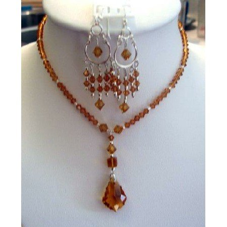 NSC122  Genuine Swarovski Austrian Topaz Crystals Necklace Set Handcrafted Custom Jewelry