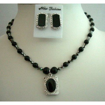 NSC258  Mystic Pearls Jewelry Genuine Swarovski Black Pearls Necklace Set w/ Onyx Stone