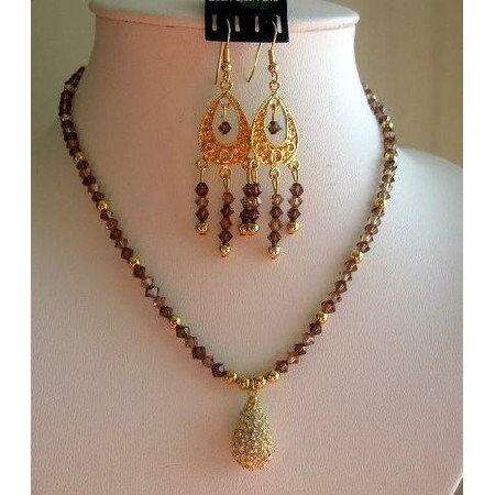 NSC147  Genuine Swarovski Smoked Topaz Crystals w/ 22k Gold Plated Pendant Set Handmade