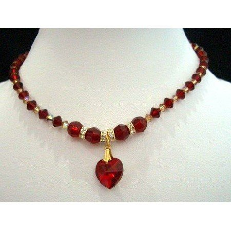 NSC206  Genuine Swarovski Crystals Red Siam Heart Necklace Bridal Necklace Handcrafted