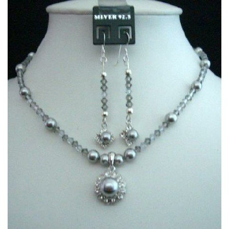 NSC126  Grey Tone Handcrafted Genuine Swarovski Grey Pearls & Crystals Pendant Necklace & Earrings