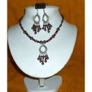 NSC159 Genuine Swarovski Dark Brown Pearls&Garnet Crystals w/Dangling Pendants Necklace Set