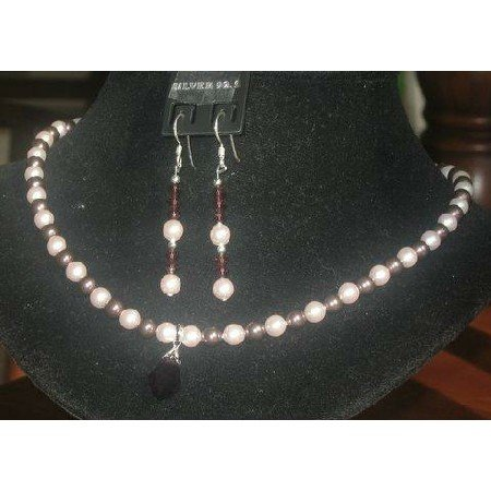 NSC115  Genuine Swarovski Rosaline & Burgundy Pearls Necklace Set Handcrafted Custom Jewelry