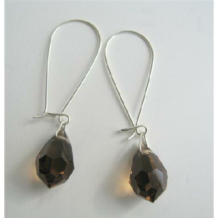 ERC313  Genuine Czech Dark Smoked Topaz Crystals Teardrop Sterling Silver Hoop Earrings