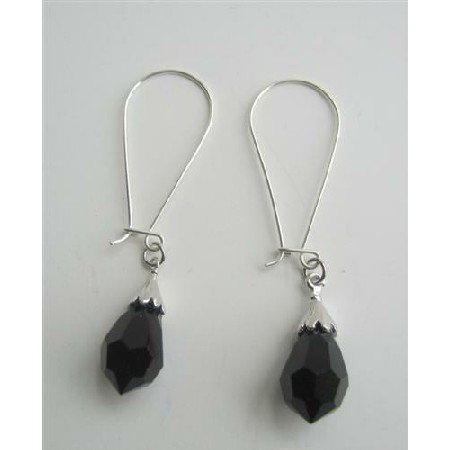 ERC316  Black Teardrop Czech Crystals Sterling Silver Hoop Earrins Handcrafted Earrings