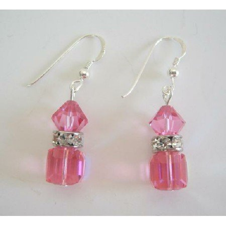 ERC215  Handmade Swarovski AB Rose Crystals Earrings Cube & Bicone Crystals w/ Silver Rondells