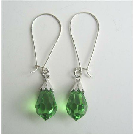 ERC321  Peridot Crystals Teardrop Genuine Czech Crystals & Sterling Silver 92.5 Hoop Earrings