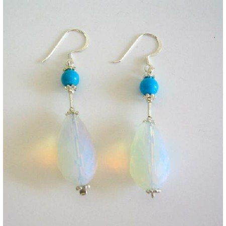ERC212  Moonstone Glass Bead Earrings w/ Turquoise Highlighted Sterling Silver Earring