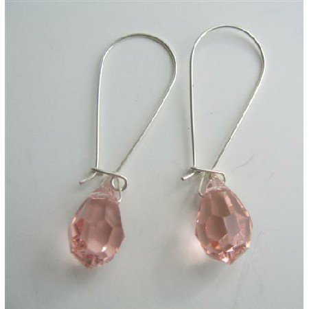 ERC319  Sparkling Czech Rose Pink Crystals Teardrop Sterling Silver Hoop Earrings